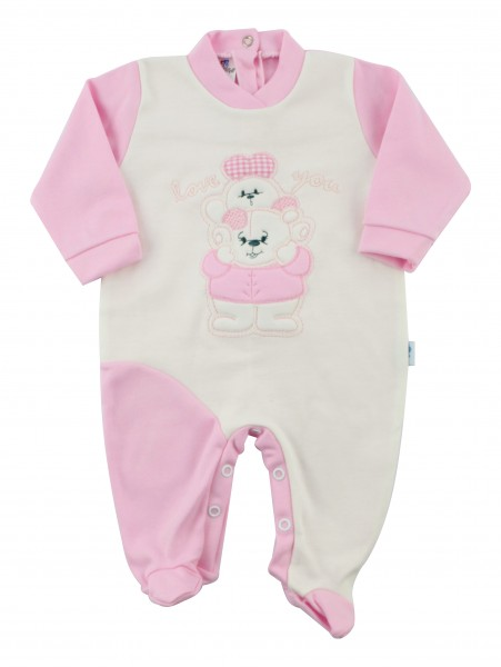 Baby footie interlock baby bear with bunny. Colour pink, size 3-6 months Pink Size 3-6 months