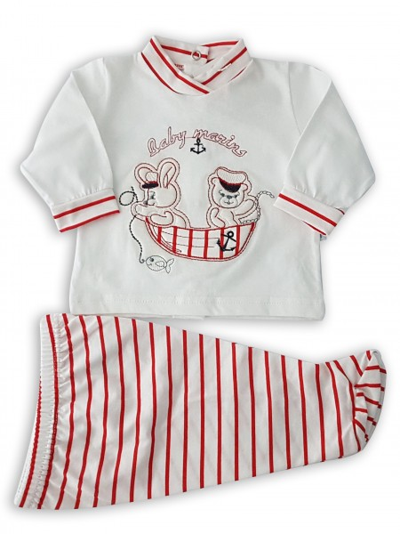 Picture baby footie outfit cotton baby marins. Colour red, size 1-3 months Red Size 1-3 months