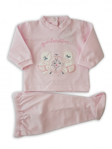 Picture baby footie outfit in piquet playfulness. Colour pink, size 3-6 months Pink Size 3-6 months