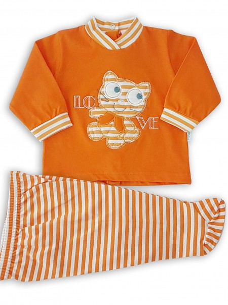 Image baby footie outfit in cotton love. Colour orange, size 3-6 months Orange Size 3-6 months