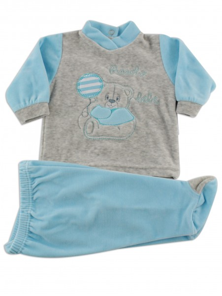 Baby footie outfit clinic chenille small baby.. Colour turquoise, size 0-1 month Turquoise Size 0-1 month