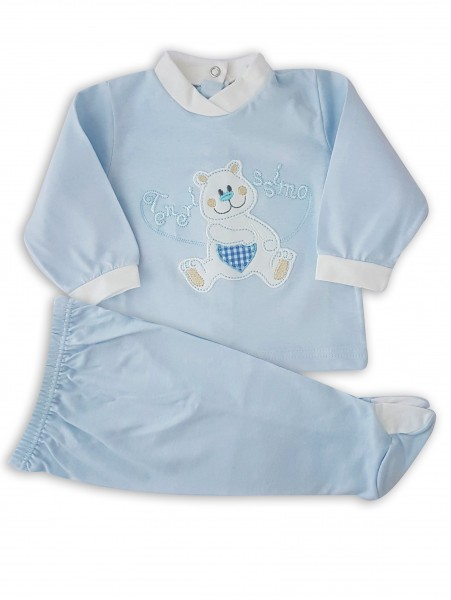 Picture baby footie outfit in very tender cotton. Colour light blue, size 3-6 months Light blue Size 3-6 months