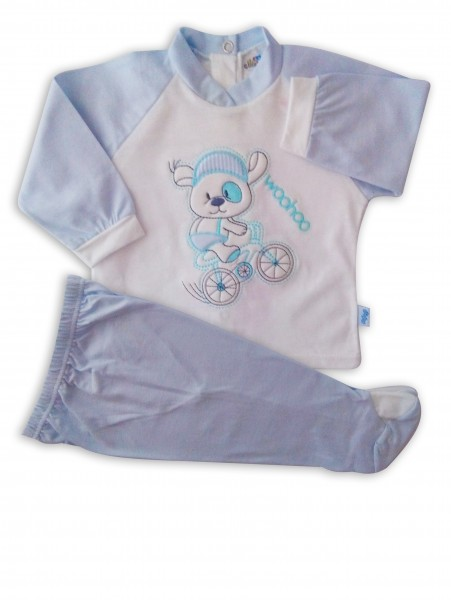 Image baby footie outfit cotton woohoo. Colour light blue, size 3-6 months Light blue Size 3-6 months