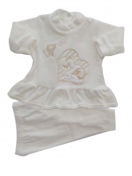 Picture baby footie outfit clinic chenille love. Colour creamy white, size 1-3 months Creamy white Size 1-3 months