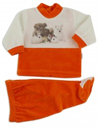Picture baby footie outfit cute puppies. Colour orange, size 0-1 month