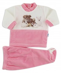 baby footie outfit cute puppies. Colour coral pink, size 1-3 months