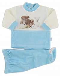 baby footie outfits tender puppies. Colour turquoise, size 0-1 month