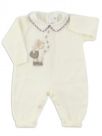 Baby footie image mixed wool climber. Colour creamy white, size 0-1 month