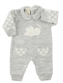 Picture baby footie mixed wool kitten. Colour grey, size 1-3 months