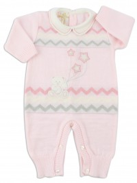 Picture baby footie mixed wool baby bear with stars. Colour pink, size 0-1 month