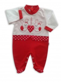 image baby footie bunnies AMOUR. Colour red, size 6-9 months