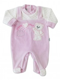 Picture baby footie in chenille baby bear and rainbow. Colour pink, size 00