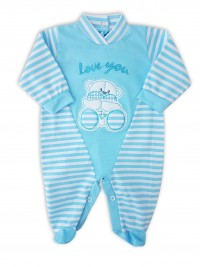 Image baby footie love you stripes. Colour turquoise, size 1-3 months