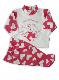 Baby footie cotton outfit bears company image. Colour coral pink, size 0-1 month
