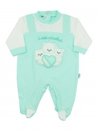 Image cotton baby footie interlock my little ones. Colour green, size 0-1 month