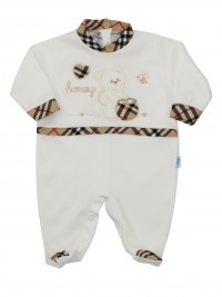 Image cotton baby footie interlock honey. Colour creamy white, size 0-1 month