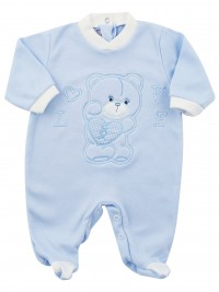 Image cotton baby footie interlock love heart. Colour light blue, size 1-3 months