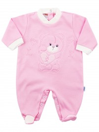 Image cotton baby footie interlock love heart. Colour pink, size 1-3 months