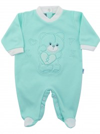 Image cotton baby footie interlock love heart. Colour green, size 9-12 months