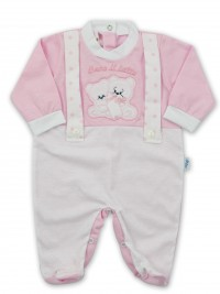 Picture baby footie in jersey We drink milk. Colour pink, size 3-6 months