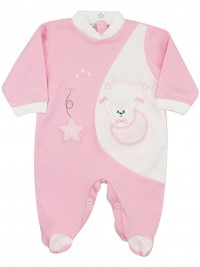 Image cotton baby footie interlock footie amour stars and moon. Colour pink, size 0-1 month