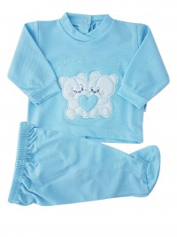 Picture baby footie outfit clinic in pique small friends. Colour light blue, size 3-6 months