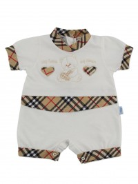 Image baby footie romper my love my heart. Colour creamy white, size 6-9 months