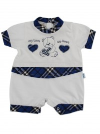 Image baby footie romper my love my heart. Colour blue, size 6-9 months