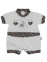 Baby image footie straw my love my heart. Colour grey, size 0-1 month