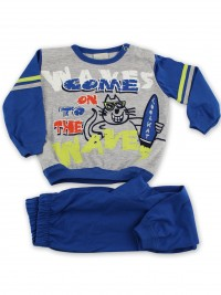 Picture baby footie pajama jersey cat surfer jersey. Colour blue, size 9-12 months