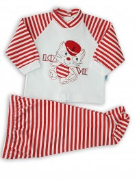 cotton jersey baby outfit. Colour red, size 1-3 months