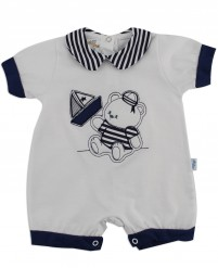 Image baby footie romper boat. Colour white, size 6-9 months