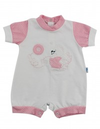 Image baby footie romper lifebelt. Colour pink, size 6-9 months