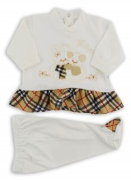 Image baby footie cotton outfit j love. Colour creamy white, size 0-1 month