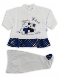 Image baby footie outfit cotton j love. Colour blue, size 3-6 months