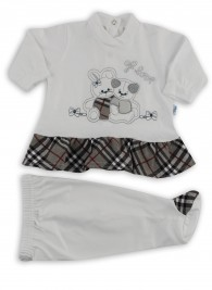 Image baby footie cotton outfit j love. Colour grey, size 0-1 month
