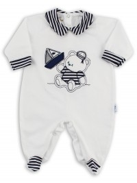Baby footie image in jersey boat stripes. Colour white, size 3-6 months