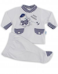 Picture baby footie outfit jersey bear petit marine. Colour white, size 3-6 months
