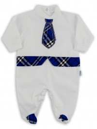 Baby footie image in jersey Scottish tie. Colour blue, size 3-6 months