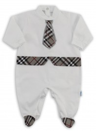 Baby footie image in jersey Scottish tie. Colour grey, size 3-6 months