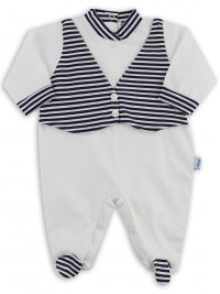 Baby footie image in jersey vest stripes. Colour white, size 0-1 month