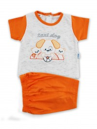 Picture baby footie outfit cotton jersey taxi dog. Colour orange, size 0-1 month