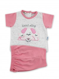 Picture baby footie outfit cotton jersey taxi dog. Colour coral pink, size 0-1 month