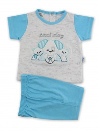 Picture baby footie outfit cotton jersey taxi dog. Colour turquoise, size 0-1 month