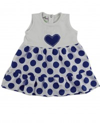 Picture baby footie dress cotton heart and polka dots. Colour blue, size 6-9 months