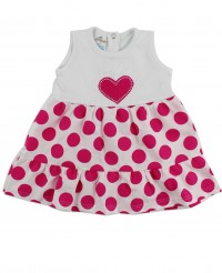 Picture baby footie dress cotton heart and polka dots. Colour coral pink, size 3-6 months