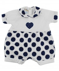 Picture baby footie romper hearts and polka dots. Colour blue, size 6-9 months