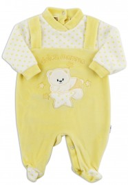 Chenille baby footie image sweet mother. Colour yellow, size 6-9 months