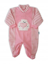 Picture baby footie in jersey loves. Colour coral pink, size 3-6 months