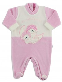 Picture baby footie in chenille small treasures bedtime. Colour pink, size 6-9 months